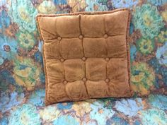"""50's Square Velvet Pillow, Yellow Gold - 16"""" by ElkHugsVintage on Etsy"""