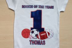 rookie of the year first birthday | Rookie Of The Year - Sports Themed Birthday Shirt by Sprinkles of Love ...
