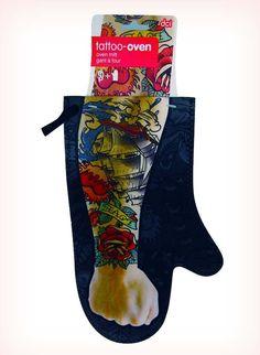 Tattoo sleeve oven mitt: http://www.walletburn.com/Tattoo-Sleeve-Oven-Mitt_1052.html #kitchen #cooking #chef #gifts