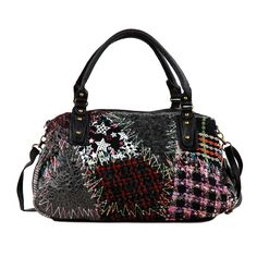 This Nicole Lee shoulder bag features a playful patchwork design with a faux…