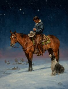 In Prayer:Horse/Cowboy/Dog
