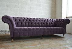 Modern British handmade Naples deep buttoned Chesterfield Sofa, shown in Aubergine velvet. Velvet Chesterfield Sofa, Sofa Couch, Modern Lounge, Modern Sofa, Bespoke Furniture, Sofa Furniture, Furniture Design, Blue Velvet Couch, Purple Velvet