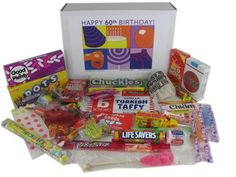 Authentic 60th Birthday Gift Basket Box Of Retro Candy
