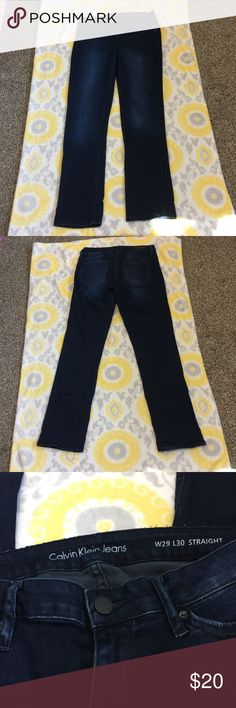 """Calvin Klein jeans straight dark blue w29 L30 Preowned Calvin Klein Jeans W29 L30 dark blue straight. Excellent condition. Measurements: waist 15"""" side to side. inseam 29 1/2"""" outer length 37 1/2"""" rise 8"""" thigh 8"""" Measurements are approximate. ‼️FIRM UNLESS BUNDLED ‼️ Calvin Klein Jeans Jeans Straight Leg"""