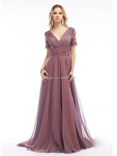 Wholesale 2014 Gray Plus Size Mother of the Bride Dresses A-Line V-Neck Backless Short Sleeve Formal Evening Dresses Floor Length Chiffon Gowns Cheap, Free shipping, $123.55/Piece | DHgate Mobile