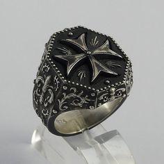 Final de magnífico Caballero Templario masónico motorista Cruz de Malta hombre anillo plata 925 hecho a mano antiguo 20 gramos
