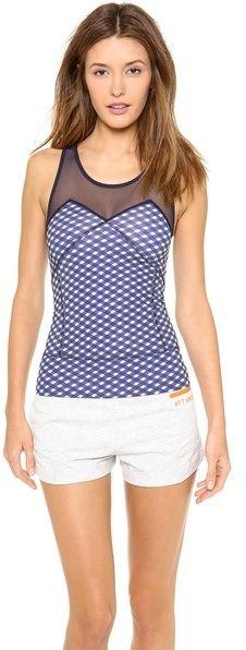 adidas by Stella McCartney Running Perf - women's fashion / activewear jersey clothing apparel (peacock blue, sheer mesh sportswear)