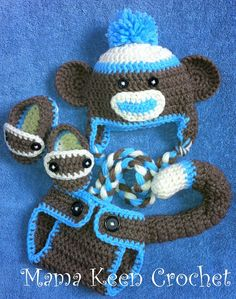 or maybe this one (newborn size for newborn pics) with gender-neutral orange! Crochet Monkey Hat, Crochet Kids Hats, Crochet For Boys, Crochet Shoes, Cute Crochet, Crochet Yarn, Crochet Cocoon, Baby Crafts, Fun Crafts
