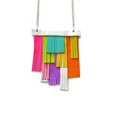Neon Bib Necklace, Hot Pink Necklace, Rainbow Leather Fringe Necklace, Orange, Yellow, Turquoise and Purple Modern Necklace