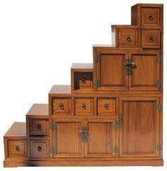 Oriental Japanese Style Step Tansu Cabinet asian-storage-units-and-cabinets Asian Storage Cabinets, China Cabinets And Hutches, Stair Storage, Storage Units, Diy Furniture, Furniture Design, Japanese Furniture, Stair Railing, Railings