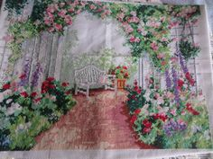 Shop for on Etsy, the place to express your creativity through the buying and selling of handmade and vintage goods. Patio Pictures, Garden Arbor, Cross Stitch Pictures, Trellis, Handmade Crafts, Flower Borders, Arbour, Tubs, Creative