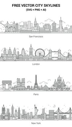 skyline The vectors are free to use for any commercial or non-commercial projects. If you like this set, any feedback will be appreciated and we'll add more cities. City Drawing, Paris Drawing, New York Drawing, Wall Drawing, Usa Tumblr, Art Plastique, Doodle Art, Paris Skyline, City Skyline Art