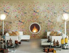 Ceramic Tiles That Remind Of Wallpaper, round fireplace   DigsDigs