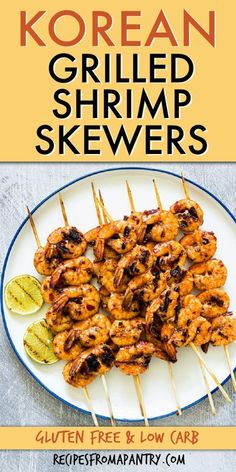 These Korean Grilled Shrimp Skewers are SO easy to make. The shrimp marinade with Gochujang paste is sweet, savory, tangy, spicy with an Asian flair. Learn how to grill shrimp skewers and quickly get dinner in under 15 minutes. You can even make these grilled shrimp kabobs in the Air Fryer or on your portable grill. They're the perfect summer grilling recipe. Click thru to get the best Grilled Shrimp Skewers recipe. #shrimpskewers #shrimpkabobs #summerrecipe #grillrecipe Healthy Grilling Recipes, Potluck Recipes, Quick Dinner Recipes, Summer Recipes, Seafood Recipes, Appetizer Recipes, Breakfast Recipes, Healthy Dinners, Meat Recipes