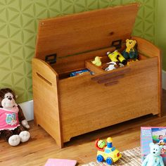 Toy Box and Blanket Chest Woodworking Plan — Reader Bill Nolan designed this rugged box with solid-wood parts so it would handle kids scooping toys from it from it for generations to come. And because he chose simple screw-together joinery, you'll have this toy collector built quicker than kids can make messes. http://www.woodstore.net/toybochwopl.html