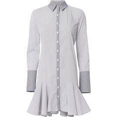 Divia Poplin Mini Dress (10.970 RUB) ❤ liked on Polyvore featuring dresses, stripe, white long-sleeve dresses, short dresses, collared shirt dress, long sleeve mini dress and white collar dress