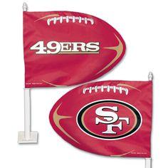 San Francisco 49ers Football Shaped Car Flag - Sportsfan