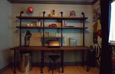 Entryway Tables, Bookcase, Shelves, Design, Furniture, Home Decor, Industrial Desk, Work Desk, Creative Ideas