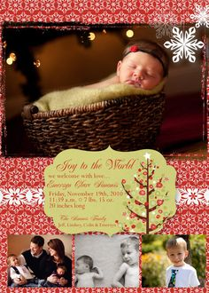 Christmas Baby Announcement Photo Card - 4 pictures