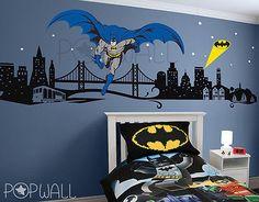 Batman Wall Decal Super Héroe Cityscape-Los Vengadores Etiquetas De Pared Para Cuarto De Niños