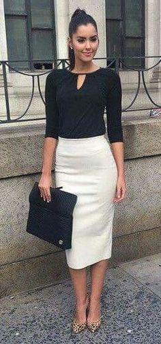 summer outfits Black Top + White Pencil Skirt + Leopard Pumps