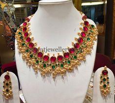 Jewellery Designs: Ruby Kundan Choker with Pearls