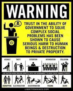 ATENCIÓN: Confiar en la habilidad del gobierno para resolver problemas sociales complejos ha demostrado ser causa de serios daños al ser humano así como destrucción de la propiedad privada.
