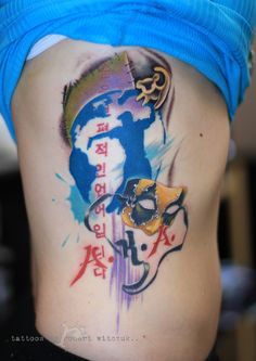 Dancing Mask by Robert Witczuk Colour Tattoos, Watercolor Tattoo, Dancing, Dance, Temp Tattoo