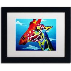Trademark Fine Art Giraffe Canvas Art by DawgArt, White Matte, Black Frame, Size: 16 x 20