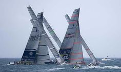 """from Sailing Anarchy 04/10/07 """"Gotta love this one of the AC fleet going at it at the LV Act 13, which ended last weekend with Alinghi emerging as the winner. Nice work from photographer Thierry Martinez."""""""