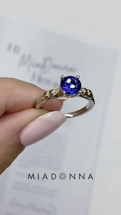 A brilliant Lab Grown Blue Sapphire sets the stage on this two-tone Chapman engagement ring. Two small diamonds accent the center stone alongside beautiful filigree detail. Two Tone Engagement Rings, Engagement Ring Settings, Fine Bridal Jewelry, Fine Jewelry, Lab Created Diamonds, Blue Sapphire Rings, Conflict Free Diamonds, Filigree, Jewelry Crafts