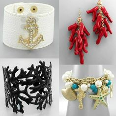 Coastal jewelry flash sale: http://coastalbella.com/flash/costumenecklacesale Great cuffs, bracelets, earrings and necklaces!