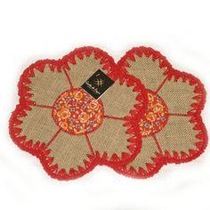 Flor 2 peças em juta e crochê www.gostodefazer.com
