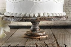 Rustic Wood Cake Stand 4 x 12in