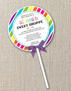 DIY Printable Invitation Lollipop Lollipop by totfulmemories, $15.00