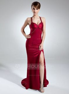 a1d2b63a2 Trumpet Mermaid Sweetheart Sweep Train Charmeuse Evening Dress With Beading  Split Front (008016015)