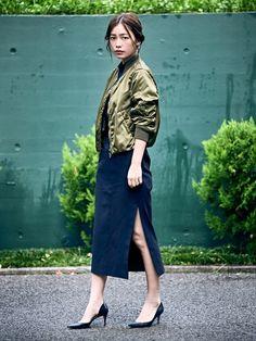 NERGYのブルゾン「【モデル 阿久津ゆりえ × NERGY】 MA-1 ブルゾン」を使った阿久津ゆりえのコーディネートです。WEARはモデル・俳優・ショップスタッフなどの着こなしをチェックできるファッションコーディネートサイトです。