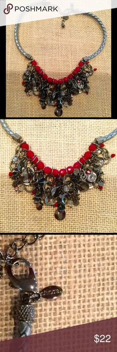 Chicos beaded necklace in red and black Chicos dramatic beaded necklace in black and red Chico's Jewelry Necklaces