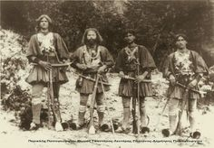 a group of bandits living in a northern Greek mountain decided to essentialy kidnap a photographer and wearing every piece of gold jewelry they owned posed for a 2 day photo session the only one of its Greece Pictures, Old Greek, Greek History, Royal Guard, Vintage Pictures, Photo Sessions, Old Photos, Folk, Poses