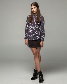 Workshop Denim Sophie Shirt - Grey Print, Velvet Tuxedo Mini - Graphite