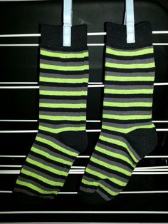 Grey, Yellow & Black Stripes Socks - $20 + P&H to turn into a Sock Monkey! Email - blue_buggs5@yahoo.com - to purchase.