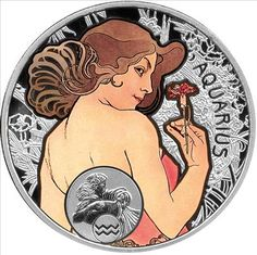 Aquarius silver coin, with the art of Alfons Mucha