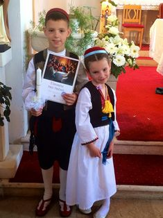 Children dressed in Konavle national costumes. Konavle is a small region in the southeast of Dubrovnik, Croatia.