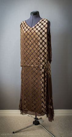 Antique 1920s tabard style gown in cut velvet and silk chiffon