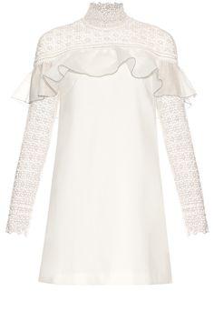 Self-portrait Military Cape ruffle-trimmed mini dress White Ruffle Dress, Ruffle Sleeve Dress, Long Sleeve Floral Dress, White Mini Dress, White Lace, Lace Dress, Ruffle Trim, Floral Dresses, Dress Long