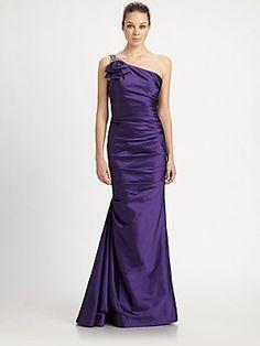 Teri Jon Asymmetrical Taffeta Gown in Iris. $760 at Saks