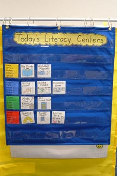literacy center chart - this site has some great ideas for set up and activities.