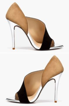 Goodness, I'm loving this shoe wrap around style. (Even if it would be totally killer-painful to wear it looks neat) Would be better in a smaller heel/flats, but it does look amazing with the metal stilettos.