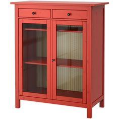 IKEA HEMNES Linen cabinet, red, glass found on Polyvore featuring polyvore, home, furniture, storage & shelves, cabinets, interior, red, storage shelving, glass storage cabinet and red storage cabinet