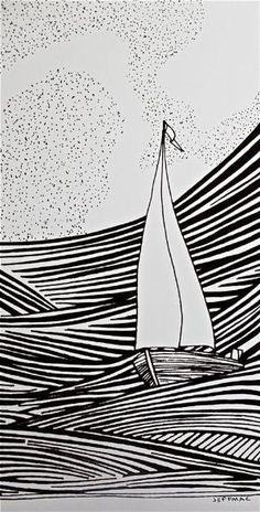 sailboat drawing More by marissa Sailboat Drawing, Sailboat Art, Linoprint, Boat Painting, Art Graphique, Linocut Prints, Line Drawing, Drawing Eyes, Drawing Art